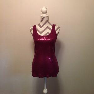 Express (Sexy Basic) pink sequins sweater tank top